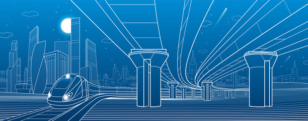 Road overpass. Transportation bridge. Train rides. Towers ans skyscrapers. Urban infrastructure, modern city on background, industrial architecture. White lines illustration, vector design art