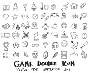 Doodle sketch game icons Illustration vector eps10