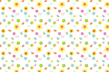 cartoon flower and bird with colorful sweet pattern background,vector