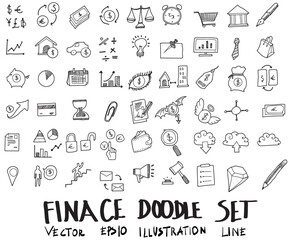 Doodle sketch finance icons Illustration vector eps10