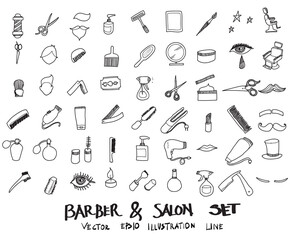 Doodle sketch barber, salon icons Illustration vector eps10