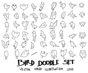 Doodle sketch bird icons Illustration vector