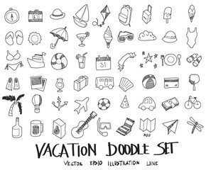 Doodle sketch vacation icons Illustration vector eps10