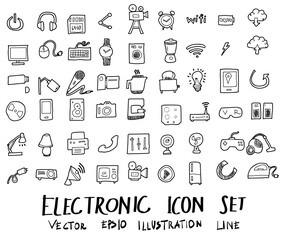 Doodle sketch electronic icons Illustration vector eps10