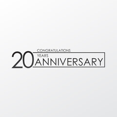 black color elegant and simple 20 years anniversary. lines vector design for family, shop, business, company, or various event Print
