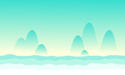 Wall Murals Green coral Desert mountain landscape game background