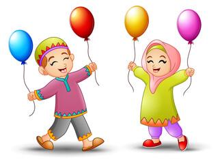 Happy cartoon kid holding balloon to celebrate eid mubarak
