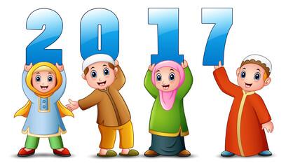 Happy cartoon kid celebrate eid mubarak with holding 2017 number
