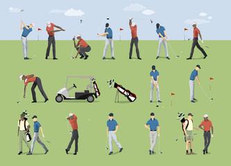 Golf players set.