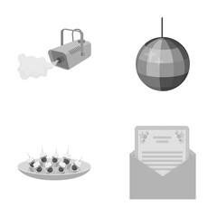 A video camera with smoke, a twirling holiday ball, a plate of sandwiches, an envelope with a greeting card. Event services set collection icons in monochrome style vector symbol stock illustration