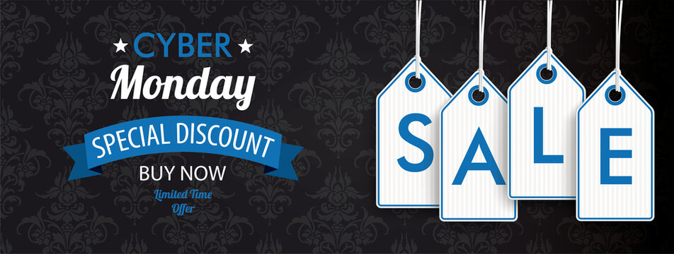 Cyber Monday Header Ornaments Price Stickers Sale