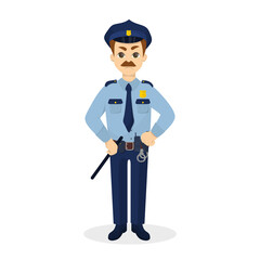 Isolated angry policeman.