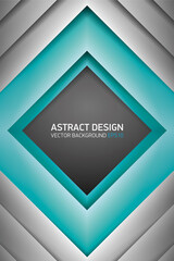 Abstract volume rhombus background, turquoise inside, cover for project presentation, vector design