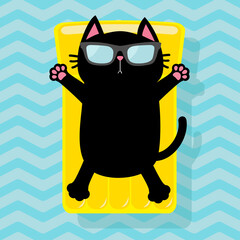 Black cat floating on yellow air pool water mattress. Cute cartoon relaxing character. Sunglasses. Summer time. Sea Ocean water with zigzag waves. Blue background. Flat design.
