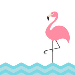 Pink flamingo. Blue sea ocean water zigzag wave. Exotic tropical bird. Zoo animal collection. Cute cartoon character. Decoration element. Flat design. White background. Isolated.