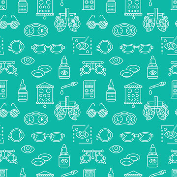 Ophthalmology, eyes health care seamless pattern, medical vector blue background. Optometry equipment, contact lenses, glasses line icons. Vision correction repeated illustration for oculist clinic.