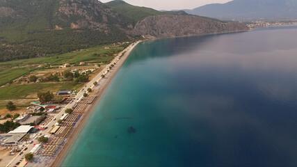 Aerial drone photo of Psatha beach in Attica, Greece
