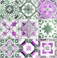 Beautiful old wall ceramic tiles patterns in park public.