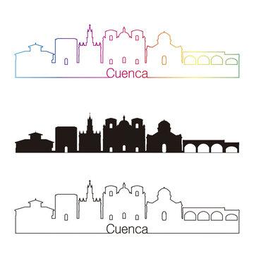 Cuenca EU skyline linear style with rainbow