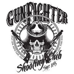 Design Gunfighter. Skull in cowboy hat, two crossed gun and bullets