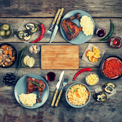 table full of homemade food