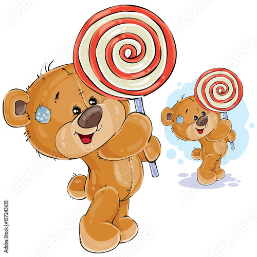 vector illustration of a brown teddy bear keeps in its paws lollipop