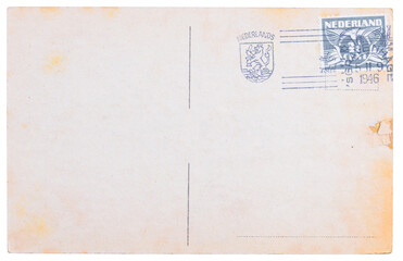 Vintage blank postcard with Dutch meter stamp from 1945 and Netherlands coat of arms stamp
