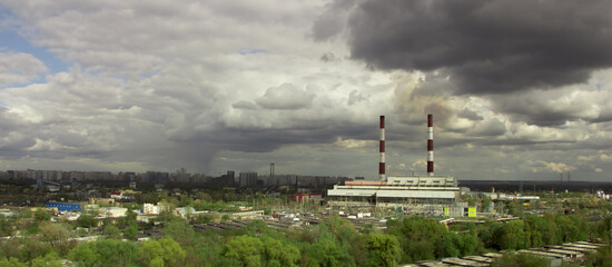 Panorama of buildings at a nuclear power station