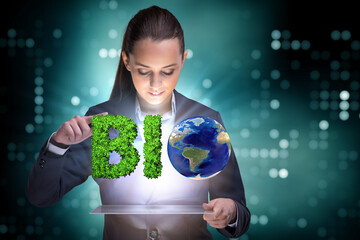 Businesswoman in recyling sustainable business concept
