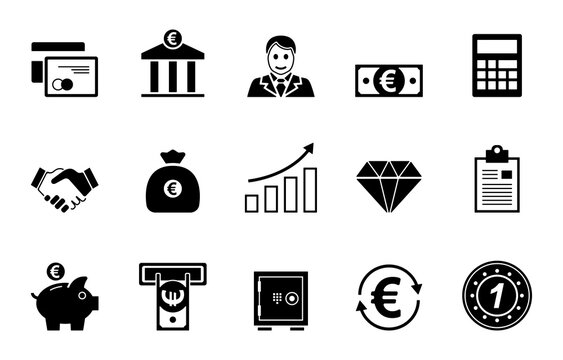 Banken & Finanzen Iconset - Schwarz