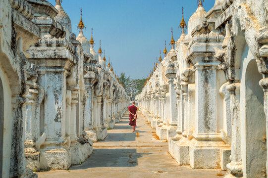 Monk at Kuthodaw pagoda in Mandalay, Burma Myanmar