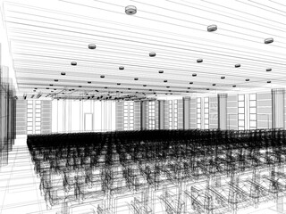 sketch design of interior auditorium  ,3d  render
