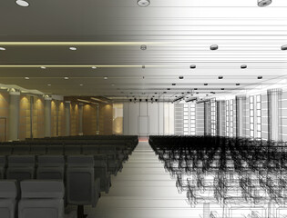 sketch design of interior auditorium  ,3d  render