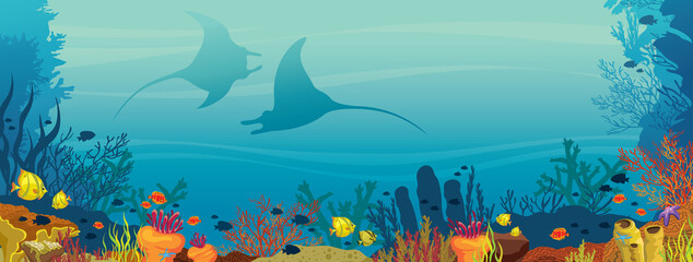 Two mantas, coral reef and fish - underwater illustration.