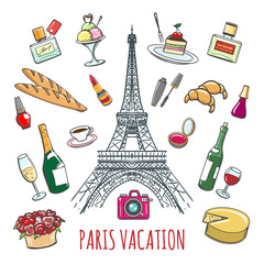French country vacation doodle elements. Paris colored sketch icons for fashion and restaurant design. Vector illustration