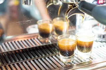 Coffee machine brewing a coffee