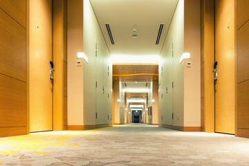 Perspective of empty corridor walkway., Modern design.