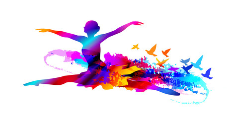 Colorful ballet dancer digital painting with flying birds