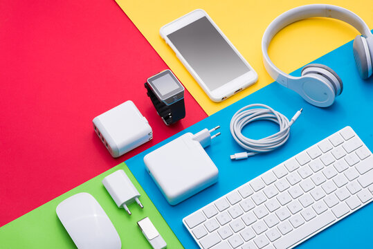 Well organised white office objects on colorful background