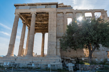 The ancient Parthenon at the Acropolis Hill in Athens, Greece