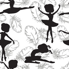 Pattern with silhouette of ballerinas and feather of swan. Black and white illustration of ballerinas. Retro seamless pattern. Hand drawn illustration.