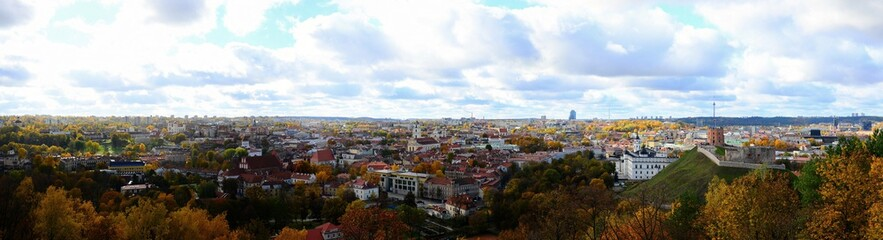 Vilnius town aerial view from three cross hill