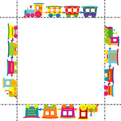 Frame with colored cartoon train