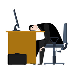 Businessman tired of work. head is on table. manager is weary. Office workplace. Armchair and computer