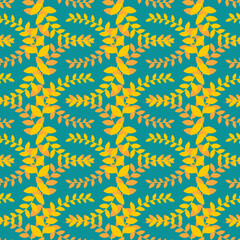 Olive branch seamless pattern. Golden floral wreath ornament