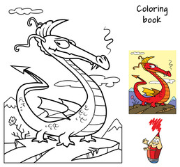 Funny dragon. Coloring book. Cartoon vector illustration