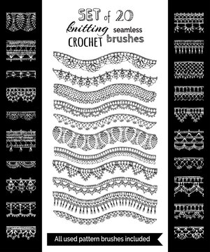 Vector set of 20 crochet patterns for borders, edgings and trims.