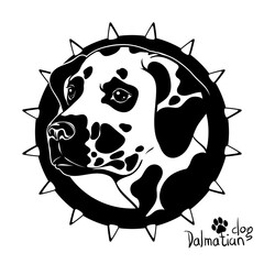 Graphic vector drawing of a dog head, Dalmatian breed