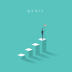 Businessman holding a flag on top of the column graph. Business concept of goals, success, achievement and challenge.