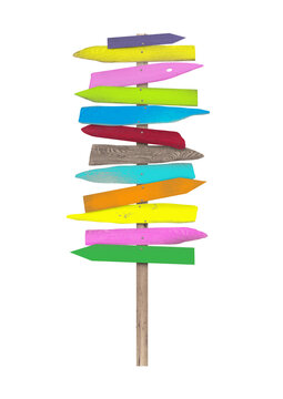 bright colorful blank wooden directional beach signs on pole, isolated on white background.